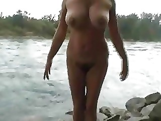 Amateur Bikini Curvy Mature MILF Outdoor Public Striptease
