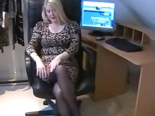 Black Cougar Hidden Cam Masturbation MILF Nylon Office Panties