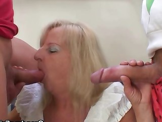 Blonde Drunk Friends Granny Mature Old and Young Party Really